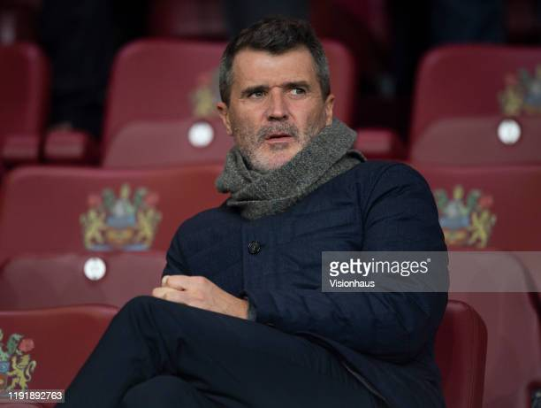 Former Manchester United player Roy Keane sits in the stands before the Premier League match between Burnley FC and Manchester City at Turf Moor on...