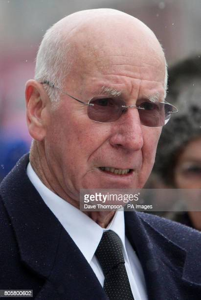 Former Manchester United player Sir Bobby Charlton leaves the funeral of Busby Babe Albert Scanlon at All Souls Church in the Weaste area of Salford