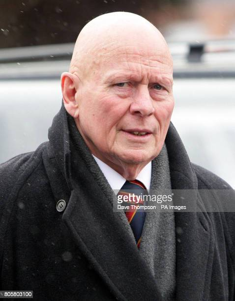 Former Manchester United player Wilf McGuinness arrives for the funeral of Busby Babe Albert Scanlon at All Souls Church in the Weaste area of Salford