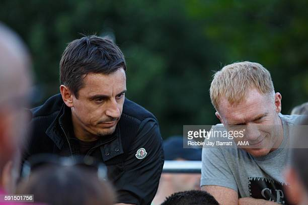 Former Manchester United players and now owners of Salford City Gary Neville and Paul Scholes watch the match in the Vanarama Conference North...