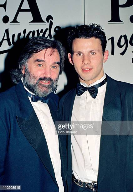 Former Manchester United winger George Best with Ryan Giggs of Manchester United who received the PFA Young Player of the Year trophy at the PFA...