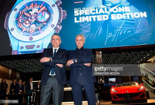 Former Manchester United's Portuguese coach Jose Mourinho and Hublot watchmaker CEO Ricardo Guadalupe pose at the Baselworld watch and jewellery fair...