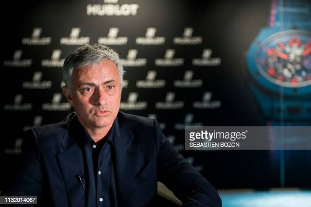 Former Manchester United's Portuguese coach Jose Mourinho answers to journalists at the Baselworld watch and jewellery fair in Basel on March 22 2019