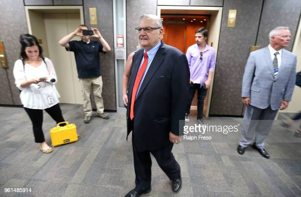 Former Maricopa County Sheriff Joe Arpaio arrives at the Arizona State Capitol to file petitions to run for the US Senate on May 22 2018 in Phoenix...