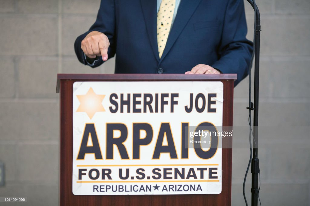 Former Maricopa County Sheriff Joe Arpaio, Republican U.S Senate candidate, gestures during a town hall meeting in Phoenix, Arizona, U.S., on Thursday, Aug. 9, 2018. Last year, U.S. President Donald Trump pardoned Arpaio who had been convicted of federal misdemeanor criminal contempt for defying a court order to stop traffic patrols targeting immigrants. Photographer: Conor Ralph/Bloomberg via Getty Images