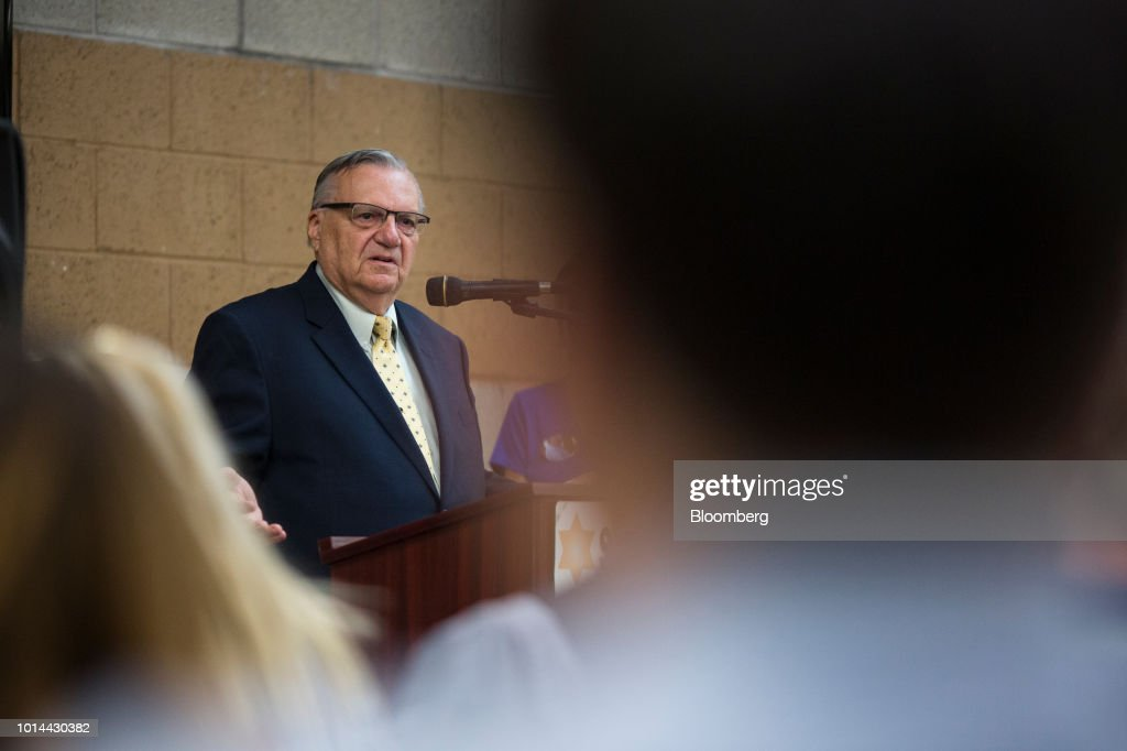 Former Maricopa County Sheriff Joe Arpaio, Republican U.S Senate candidate, speaks during a town hall meeting in Phoenix, Arizona, U.S., on Thursday, Aug. 9, 2018. Last year, U.S. President Donald Trump pardoned Arpaio who had been convicted of federal misdemeanor criminal contempt for defying a court order to stop traffic patrols targeting immigrants. Photographer: Conor Ralph/Bloomberg via Getty Images