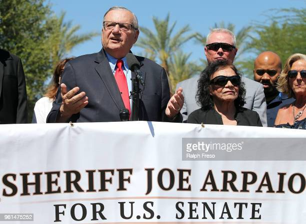 Former Maricopa County Sheriff Joe Arpaio speaks to the media in front of the Arizona State Capitol before filing petitions to run for the US Senate...