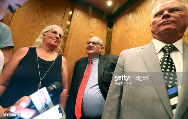 Former Maricopa County Sheriff Joe Arpaio takes the elevator at the Arizona State Capitol while filing petitions to run for the US Senate on May 22...