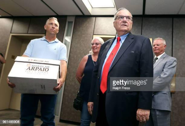 Former Maricopa County Sheriff Joe Arpaio waits at the Arizona State Capitol to file petitions to run for the US Senate on May 22 2018 in Phoenix...