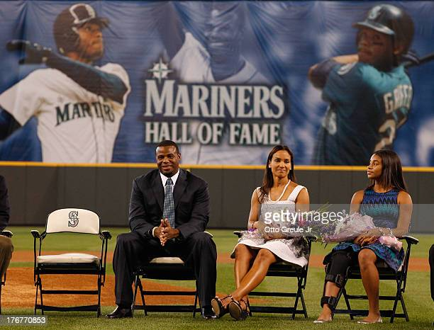 Former Mariners great Ken Griffey Jr wife Melissa and daughter Taryn look on during a ceremony inducting him into the Seattle Mariners Hall of Fame...