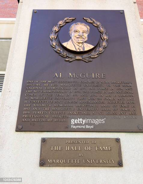 Former Marquette University basketball coach Al McGuire's plaque is displayed at the Wisconsin Athletic Hall Of Fame, which honors distinguished...