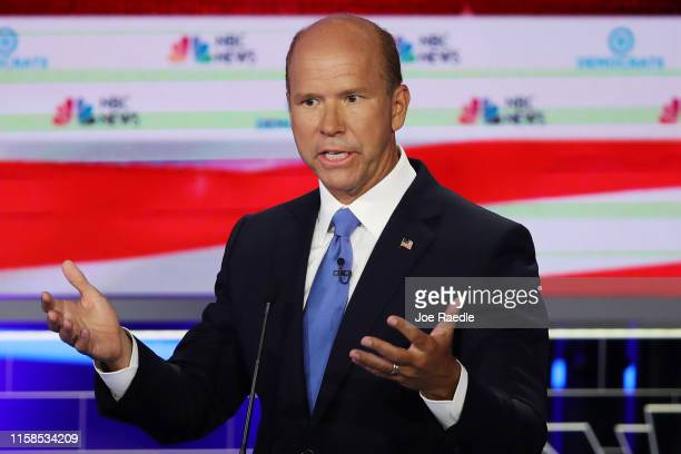 Former Maryland congressman John Delaney speaks during the first night of the Democratic presidential debate on June 26, 2019 in Miami, Florida. A...
