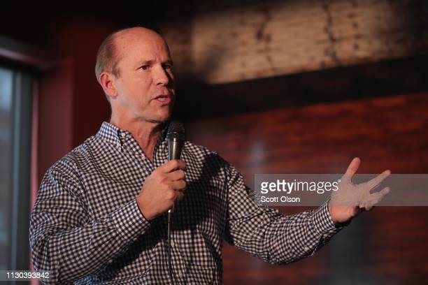 Former Maryland congressman John Delaney speaks to guests at the Marion County Democrats soup luncheon at the Peace Tree Brewing Company on February...