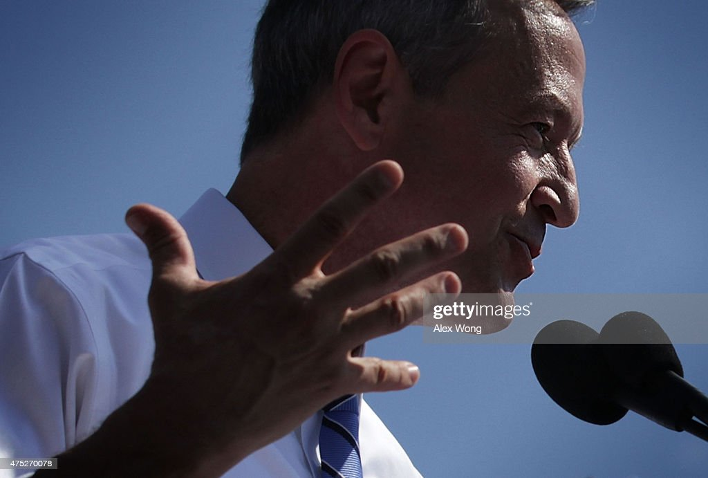 Former Maryland Gov. Martin O'Malley speaks during an event to announce his candidacy for a presidential campaign May 30, 2015 at Federal Hill Park in Baltimore, Maryland. O'Malley was the third Democrat, after former U.S. Secretary of State Hillary Clinton and Sen. Bernie Sanders (I-VT), to throw his hat in the ring for the Democratic nomination.