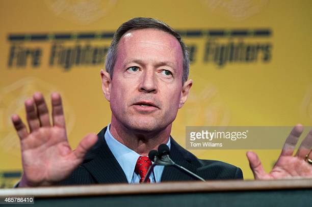 Former Maryland Gov Martin O'Malley speaks during the International Association of Fire Fighters Presidential Forum at the Hyatt Regency on Capitol...