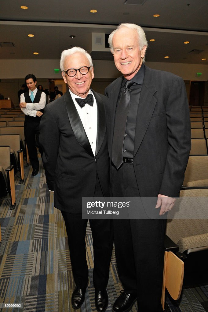 Former 'M*A*S*H*' castmates William Christopher and Mike Farrell relax after the awards ceremony at the Closing Night Gala for the 1st Annual Burbank International Film Festival, held at Woodbury University on March 29, 2009 in Burbank, California.