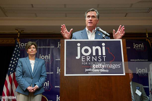 Former Massachusetts Gov. And GOP presidential candidate Mitt Romney speaks on behalf of Iowa Republican State Senator and U.S. Senate candidate Joni...