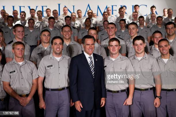 Former Massachusetts Gov and Republican presidential candidate Mitt Romney stands with cadets after giving a foreign policy address at the Citadel on...