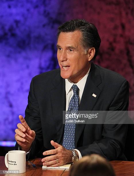 Former Massachusetts Gov Mitt Romney speaks during the Republican Presidential debate hosted by Bloomberg and the Washington Post on October 11 2011...