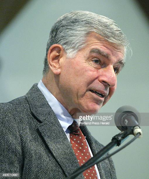 Former Massachusetts Governor and presidential candidate Michael Dukakis talks about healthcare at the University of New England's Portland campus on...