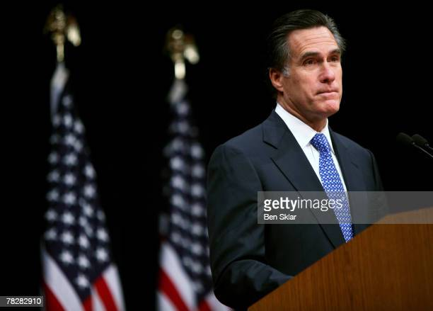 Former Massachusetts Governor and Republican President hopeful Mitt Romney speaks on faith in America at The George Bush Presidential Library on...