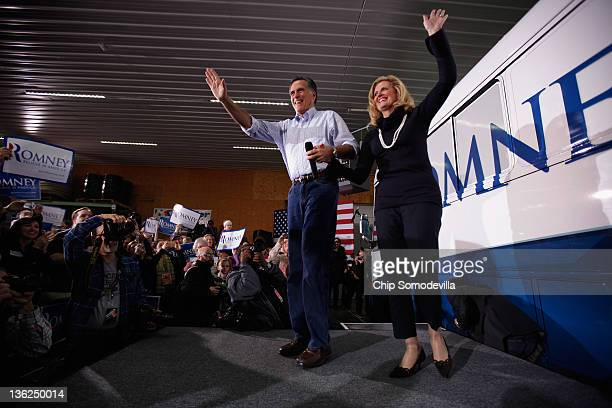 Former Massachusetts Governor and Republican presidential candidate Mitt Romney and his wife Ann Romney arrive for a campaign rally at Kinzler...