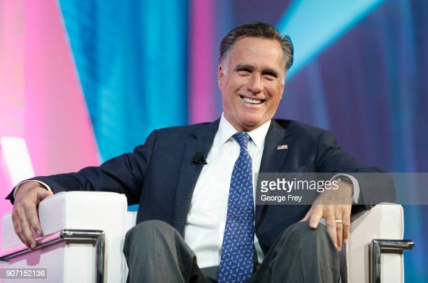 Former Massachusetts Governor and Republican presidential candidate Mitt Romney is interviewed at the Silicon Slopes Tech Conference on January 19...