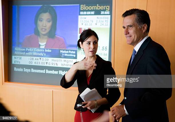 Former Massachusetts Governor and Republican presidential candidate Mitt Romney speaks with Bloomberg News reporter Heidi Przybyla in Washington DC...