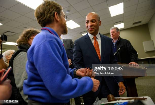 Former Massachusetts Governor Deval Patrick greets attendees after speaking at a meeting of the Polk County Democrats on November 18, 2019 in Des...
