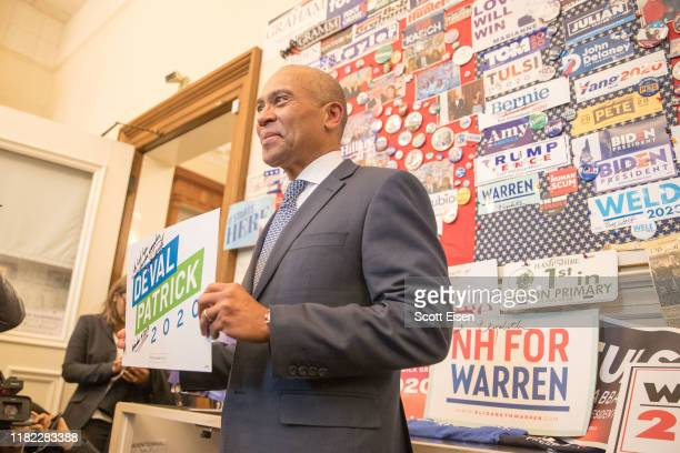 Former Massachusetts Governor Deval Patrick stands in the visitor center of the New Hampshire State House after he filed his paperwork to run for...