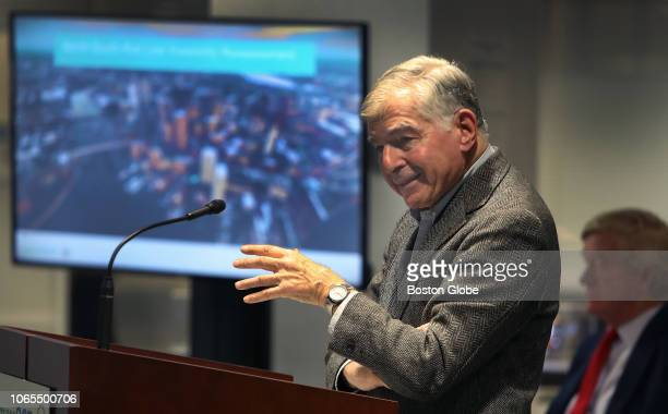 Former Massachusetts Governor Michael Dukakis appears before the MBTA board to express his support for a NorthSouth rail link in Boston on Nov 19...