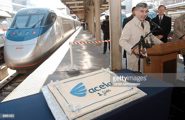 Former Massachusetts Governor Michael S Dukakis now acting Chairman of Amtraks Board of Directors speaks to the media December 10 2001 at the...