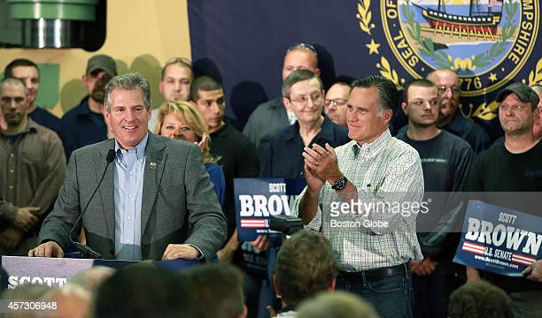 Former Massachusetts governor Mitt Romney right appeared with former Massachusetts senator and current candidate for the senate from New Hampshire...