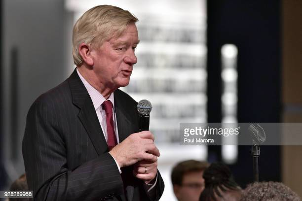 Former Massachusetts Governor William Weld asks a question of Martha Raddatz who received the Goldsmith Career Award for Excellence in Journalism at...
