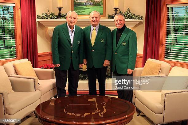 Former Masters champions Arnold Palmer Jack Nicklaus and Gary Player of South Africa pose together on the Golf Channel set prior to the start of the...