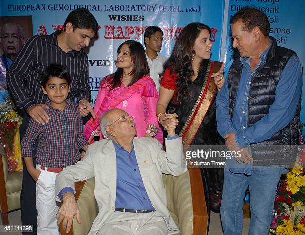 Former mayor and Sheriff of Mumbai Nana Chudasama celebrates his birthday with daughter Shina NC Salman Khans father Salim Khan and his daughter...