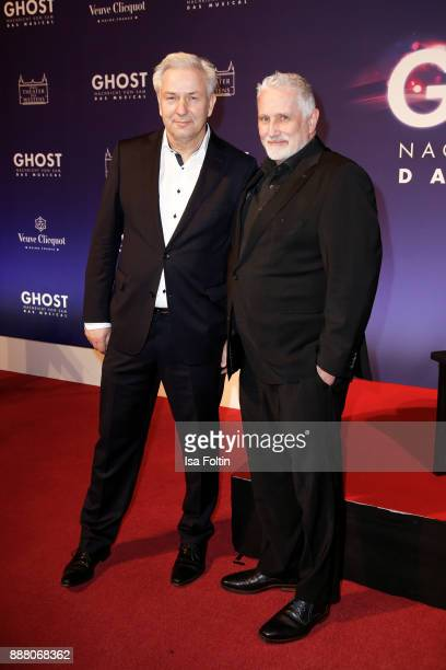Former mayor of Berlin Klaus Wowereit and his husband Joern Kubicki during the premiere of 'Ghost - Das Musical' at Stage Theater on December 7, 2017...
