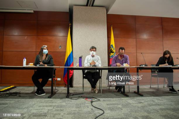 Former mayor of Bogota, Claudia Lopez wears a face mask to prevent the spread of the novel coronavirus, during a press conference for the...