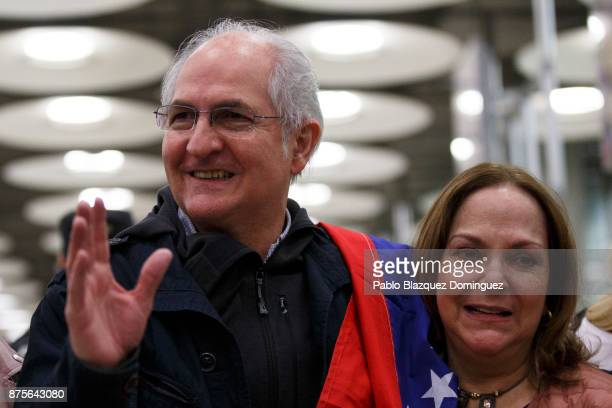 Former mayor of Caracas Antonio Ledezma meets his wife Mitzy Capriles at his arrival to Adolfo Suarez Madrid Barajas Airport on November 18 2017 in...