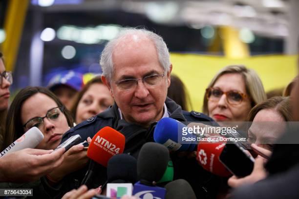 Former mayor of Caracas Antonio Ledezma speaks to press at his arrival to Adolfo Suarez Madrid Barajas Airport on November 18 2017 in Madrid Spain...