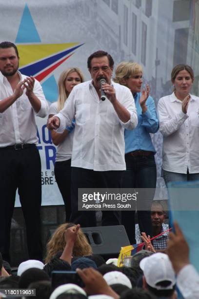 Former mayor of Guayaquil Jaime Nebot addresses the citizens at 9 October Avenue during a march for democracy called by major of Guayaquil Cynthia...