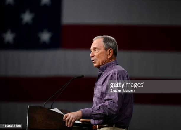 Former mayor of New York City and Everytown founder Michael Bloomberg speaks on stage during a forum on gun safety at the Iowa Events Center on...