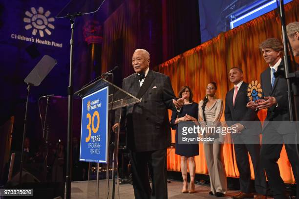Former Mayor of New York City David Dinkins accepts the American Heroes for Children Award onstage during the Children's Health Fund 2018 Annual...