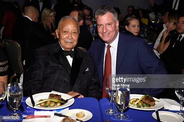 Former Mayor of New York City David Dinkins and Mayor of New York City Bill de Blasio attend the RFK Ripple Of Hope Gala at Hilton Hotel Midtown on...