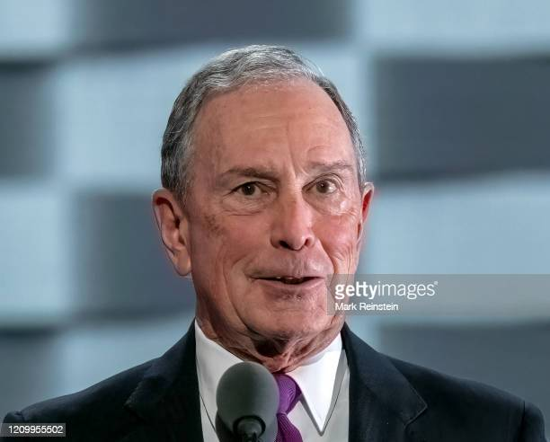 Former mayor of New York City Michael Bloomberg addresses delegates on Day 3 of the Democratic National Convention at the Wells Fargo Center