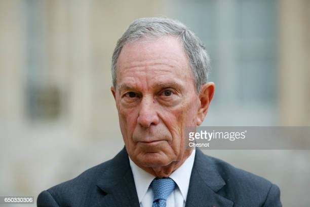 Former Mayor of New York City Michael Bloomberg makes a statement after his meeting with French President Francois Hollande and Paris City Mayor Anne...