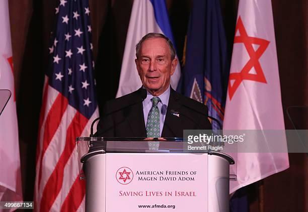 Former Mayor of New York City Presenter Michael Bloomberg speaks on stage during AFMDA Red Star Gala at The Grand Hyatt New York on December 2 2015...