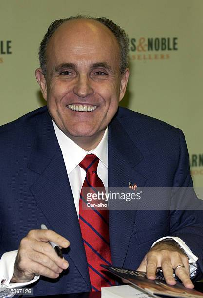 Former Mayor of New York City Rudolph W Giuliani during Former Mayor of New York City Rudolph W Giuliani Signs His Book 'Leadership' at Barnes Noble...