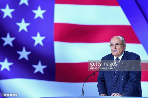 Former Mayor of New York City Rudy Giuliani gestures as he speaks during a conference 120 Years of Struggle for Freedom Iran at Ashraf3 camp which is...