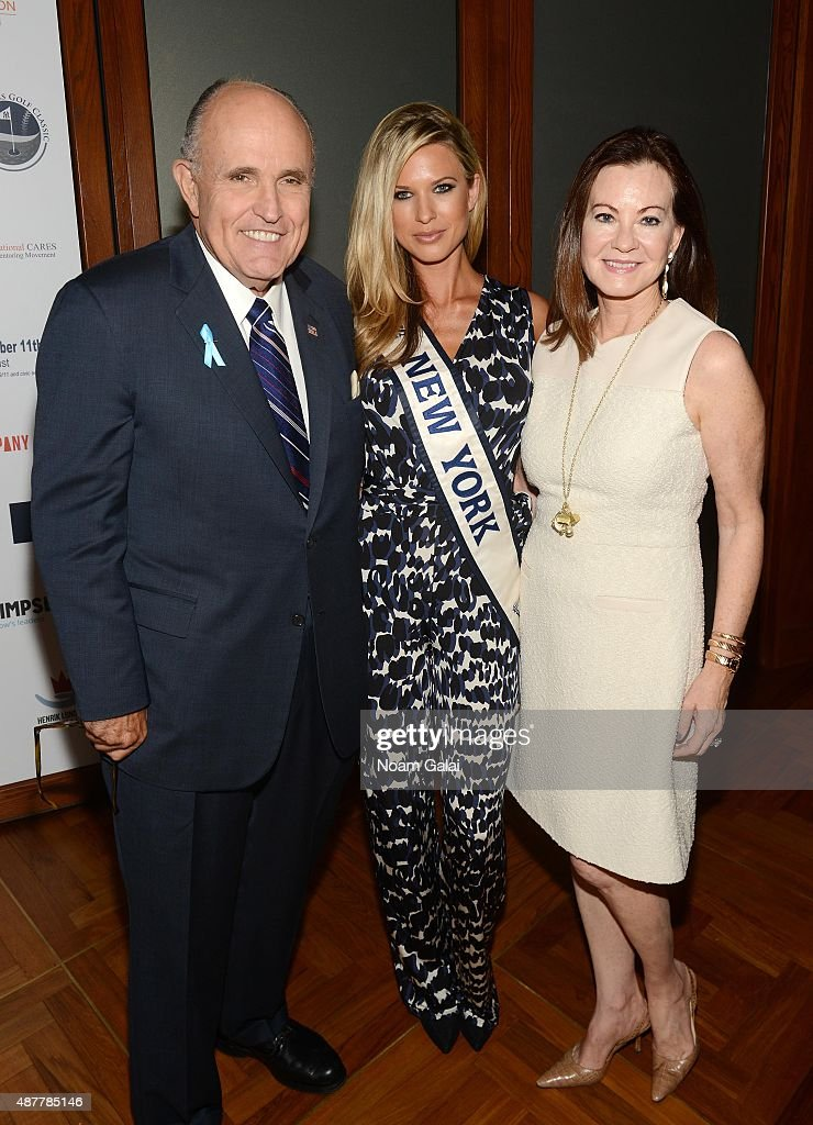 Former Mayor of New York City Rudy Giuliani, Miss NY USA 2015 Nicole Kulovany and Judith Giuliani attend the annual Charity Day hosted by Cantor Fitzgerald and BGC at Cantor Fitzgerald on September 11, 2015 in New York City.